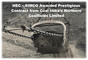 HEC - SIMCO Awarded Prestigious Contract from Coal India's Northern Coalfields Limited